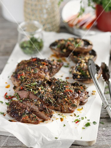 Grilled lamb with herbs