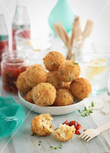 Breaded bacon and mozzarella balls