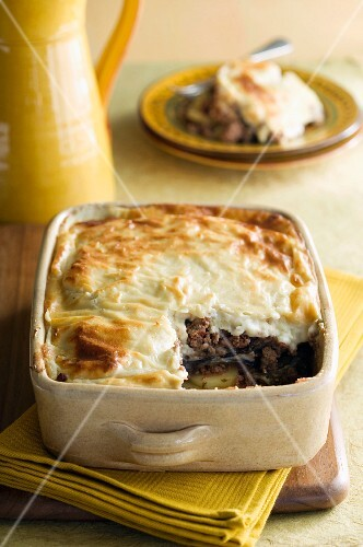 Lamb and potato bake with a Béchamel crust