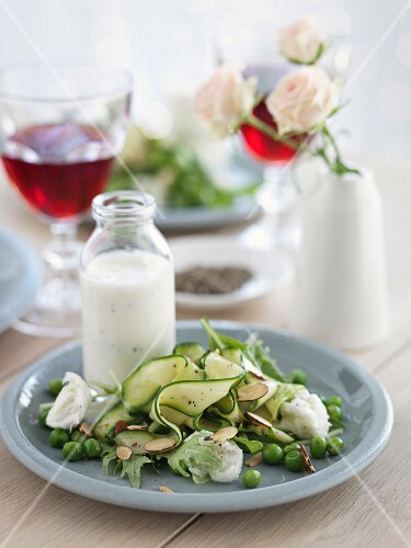 Green summer salad with yoghurt sauce and mozzarella
