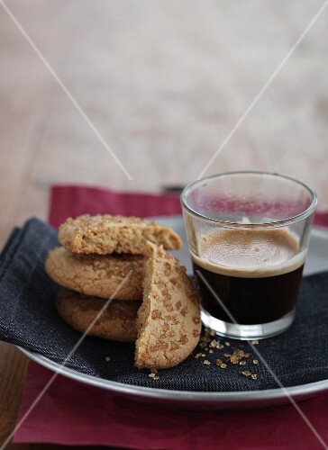 Crispy biscuits and a cup of coffee