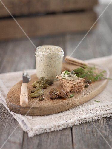 Oyster pâté, crackers, gherkins and capers