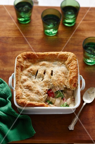Chicken pie with a puff pastry crust