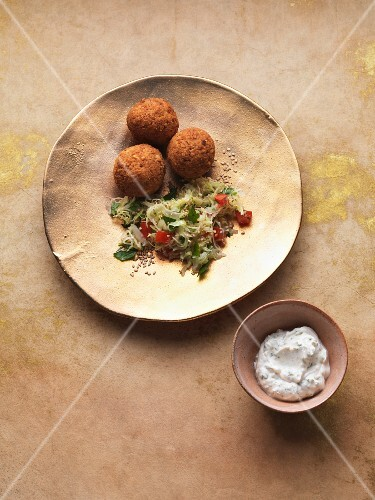 Falafel with a pointed cabbage salad and a tahini dip