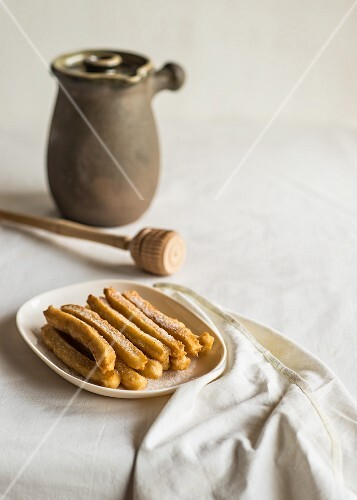 Churros (deep-fried Spanish pastries) on a plate