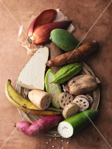 An arrangement of exotic vegetables