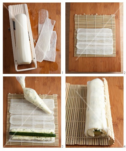 Sushi-style radish roll being made