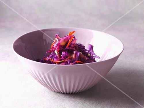 Warm red cabbage salad with chilli, ginger and a raspberry dressing