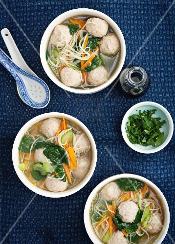 Vegetable soup with noodles and chicken dumplings