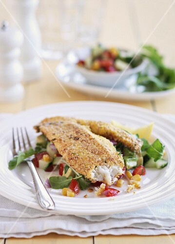 Fish fillet with an oat crust
