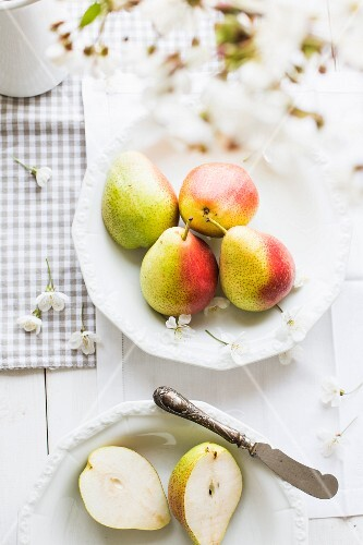Pears with pear blossom