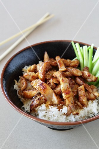 Teriyaki chicken with rice and spring onions (Japan)