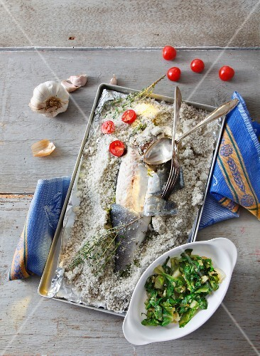 Sea bass in salt dough