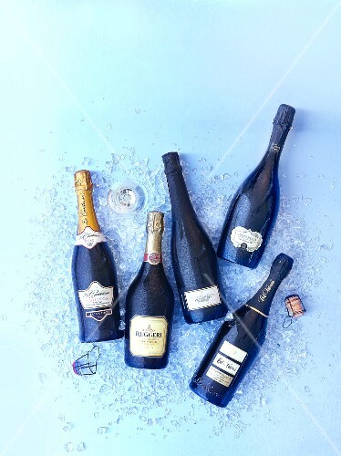 Various bottles of Prosecco on ice