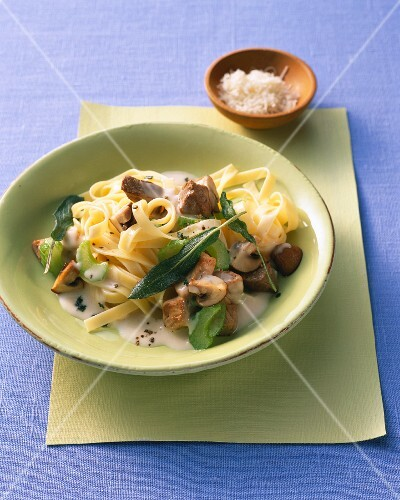 Tagliatelle with wild boar, mushrooms and fried sage