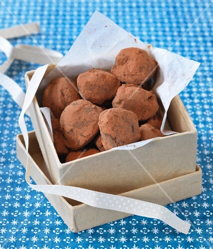 Chocolate truffles in a gift box