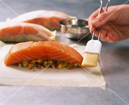 Salmon in filo pastry being made