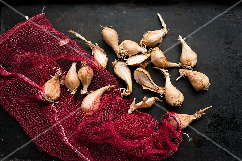 Shallots with a net bag