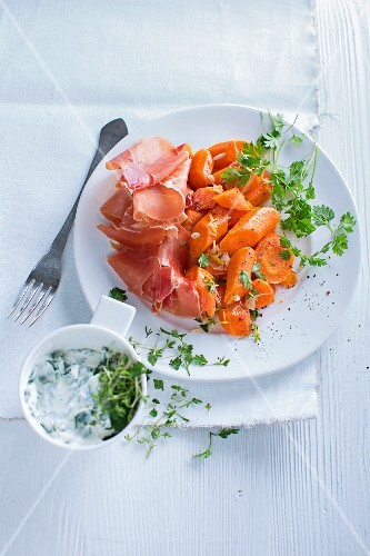 Carrot antipasti with herb quark
