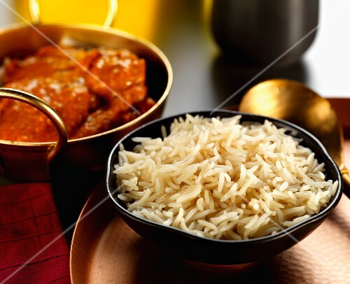 Basmati rice and beef curry