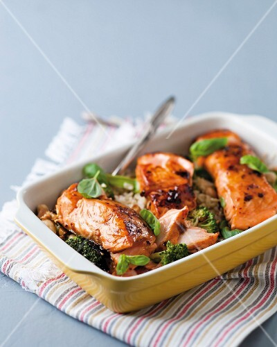 Chilli and apricot salmon on a bed of rice