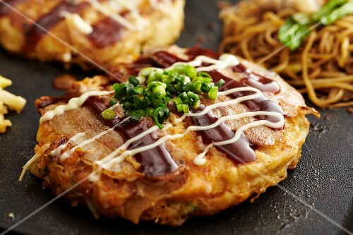 Okonomiyaki with noodles (Japan)
