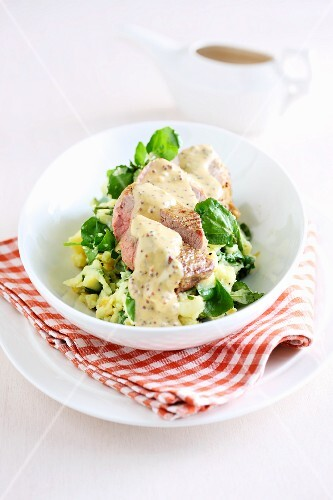 Chicken breast with mustard sauce