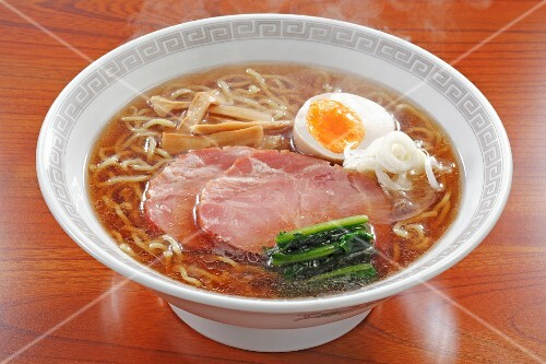 Sapporo Ramen (noodle soup with soy sauce, Japan) with pork and egg