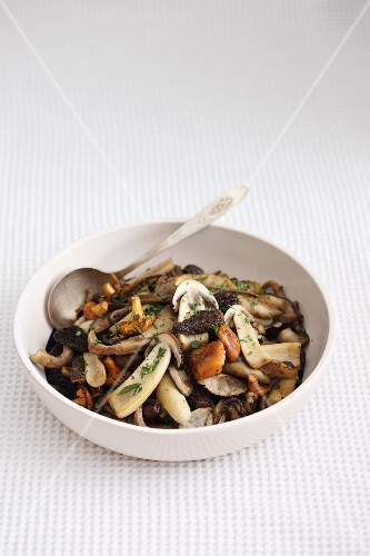 Pan-fried wild mushrooms