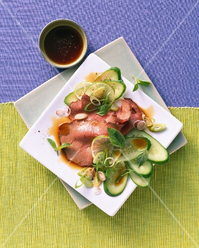 Thai salad with cucumber and roast beef