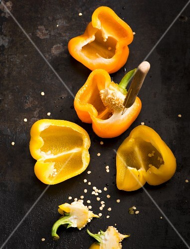 Halved yellow peppers