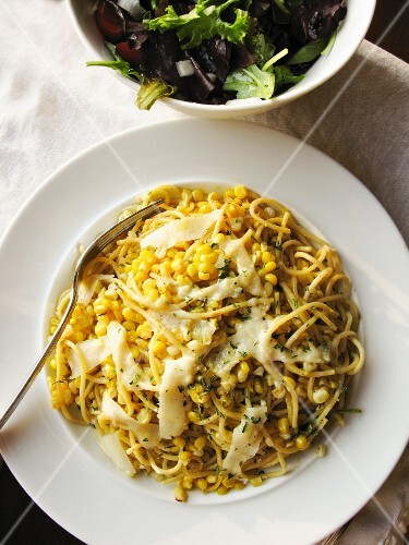 Spaghetti with sweetcorn, cheese and sage