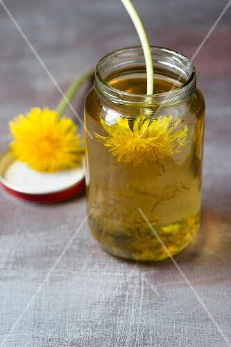 A jar of dandelion honey