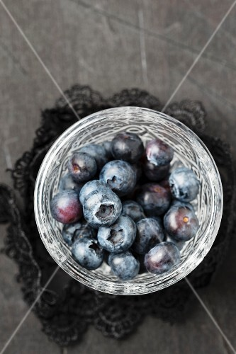 Blueberries in a dish