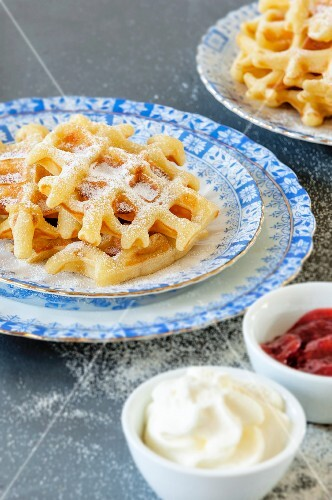 Barter waffles with jam and cream