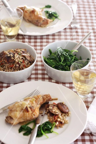 Chicken with barley and spinach