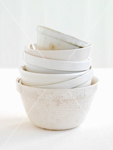 A stack of white bowls