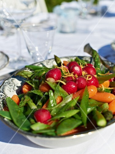 Vegetable salad with mangetout radish, carrots and asparagus