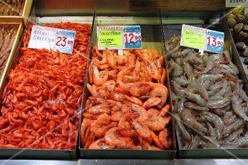 Prawns from Galicia and langoustines (raw and cooked) at the fish market in Bilbao, Basque Country, Spain