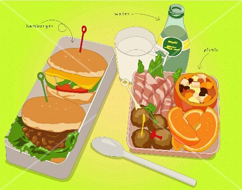 Hamburgers, snacks and drinks (illustration)