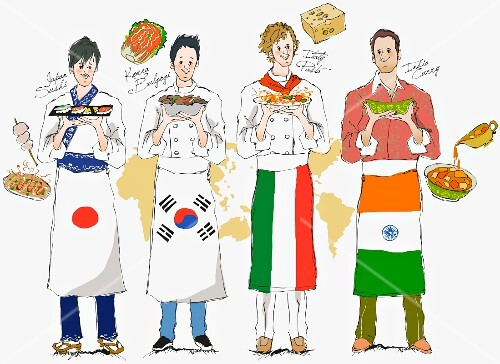 Four chefs from various countries holding typical meals (illustration)