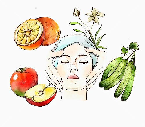 Woman receiving facial massage and fruit and vegetables used in natural cosmetics (illustration)