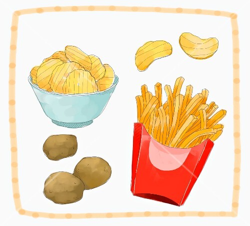 An arrangement of potato, crisps and fries (illustration)