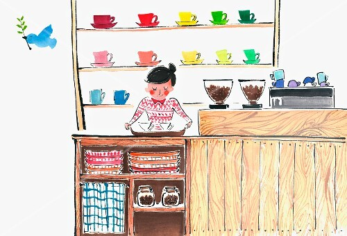 A barista in a coffee shop (illustration)