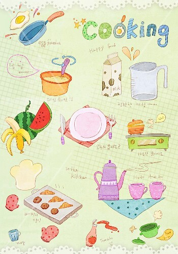 Various illustrations on the theme of cooking, food and drink (illustration)
