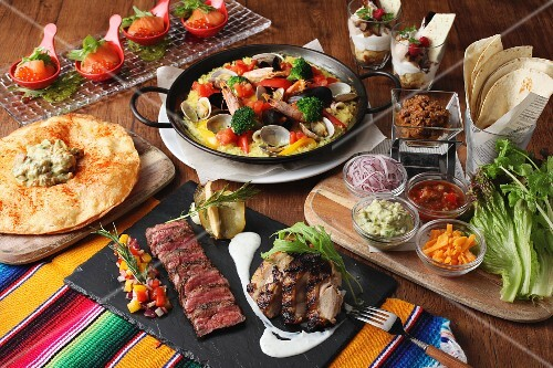 An arrangement of various Mexican foods