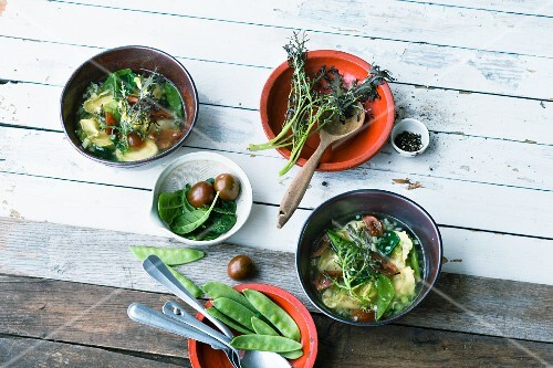 Colourful noodle soup with tortellini and wasabi cabbage