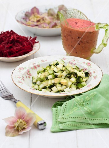 Ingredients for a vegetable salad with a sweet and spicy plum dressing