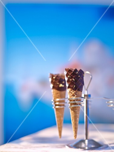 Chocolate ice cream cones in a cone holder