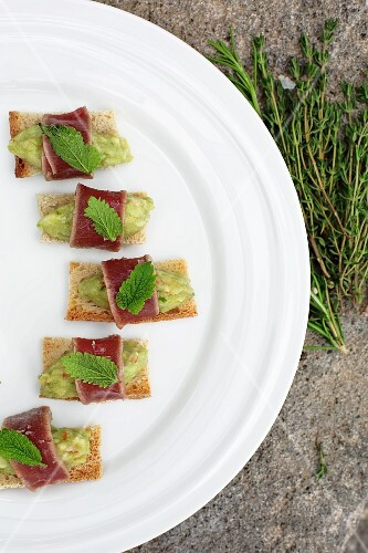 Canapés with guacamole and tuna fish